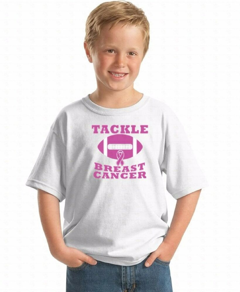a5ab3222605 Tackle Breast Cancer Youth T-shirt Awareness Support Hope Belief Love Kids  Shirt | eBay
