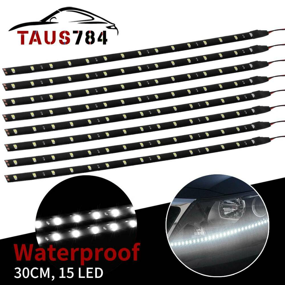 8x flexible 30cm strip 6000k white car motorcycle 15 led lights waterproof 12v ebay. Black Bedroom Furniture Sets. Home Design Ideas