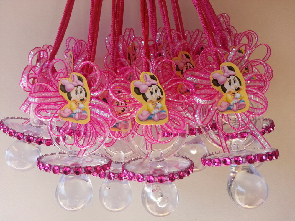 12 baby minnie mouse pacifier necklaces baby shower game for Baby minnie decoration