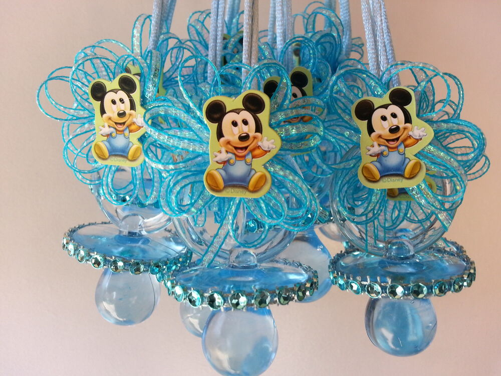 12 Baby Mickey Mouse Pacifier Necklaces Baby Shower Game Favors