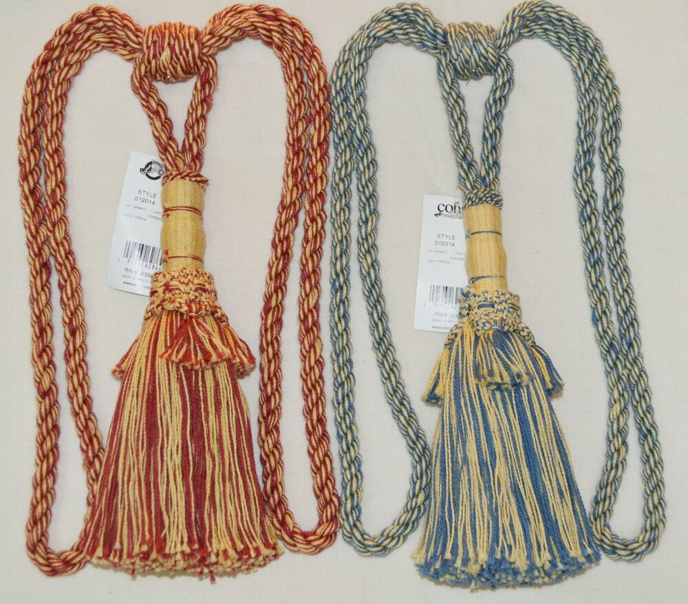 "Curtain & Chair Tie Back -30""spread with 11""tassel - Red/Yellow or Blue/Yellow 