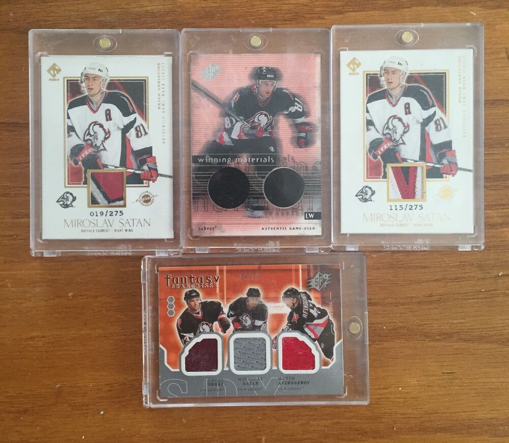 ... Buffalo Sabres Miroslav Satan 4 Jersey Card Lot Puck Patch Swatch  Numbered eBay ... e93652bc8
