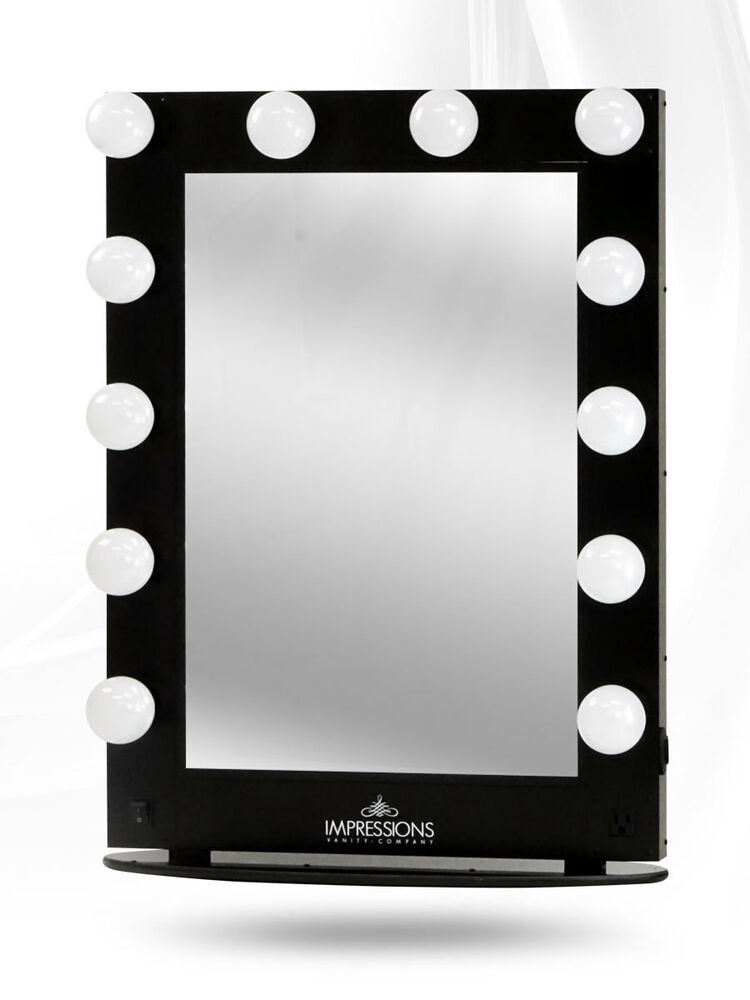 Hollywood Glamour XL Lighted Make-up Vanity Table top Mirror BLACK w FREE LEDs eBay