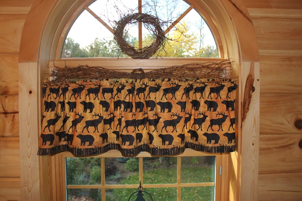 Northwoods Moose Bear Cabin Lodge Country Curtain Window