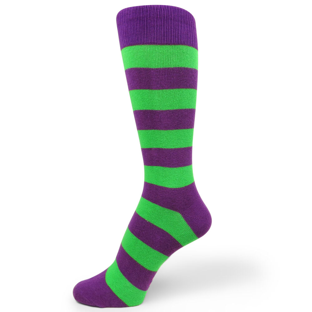 Bright Green and Purple Striped Mens Dress Socks for ...