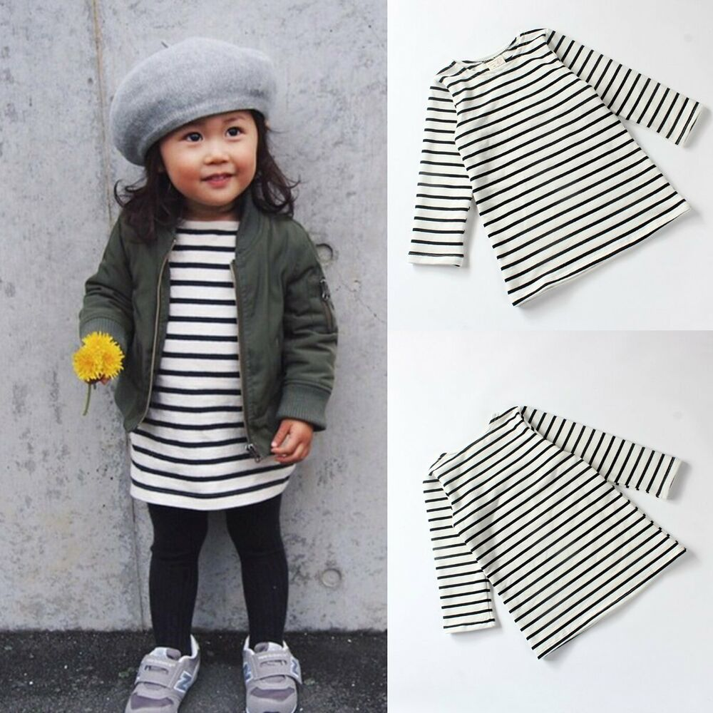 Toddler Baby Kids Girl Infant Cotton Long Sleeve Striped ...