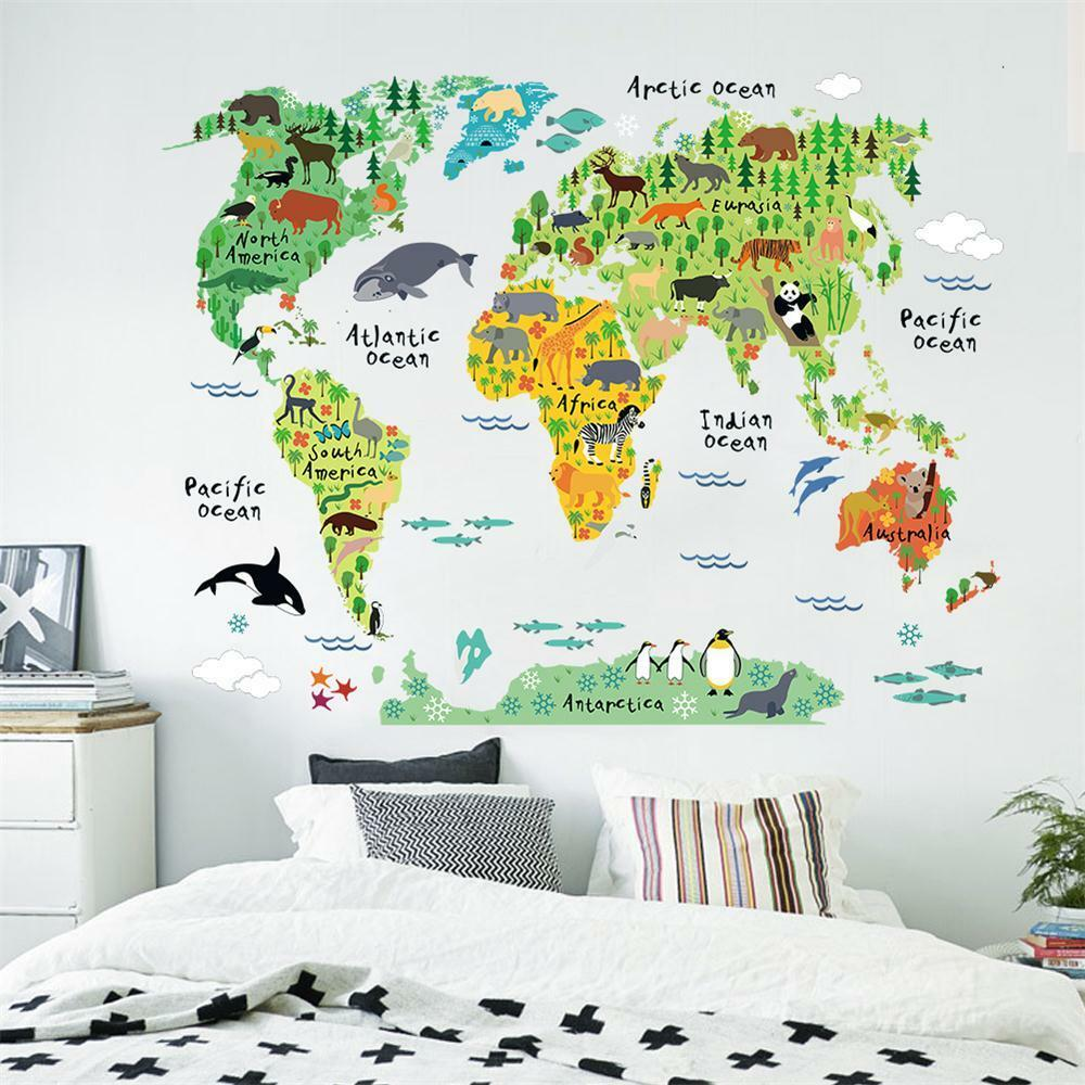 Colorful world map kids nursery room wall stickers home for Wall decals kids room