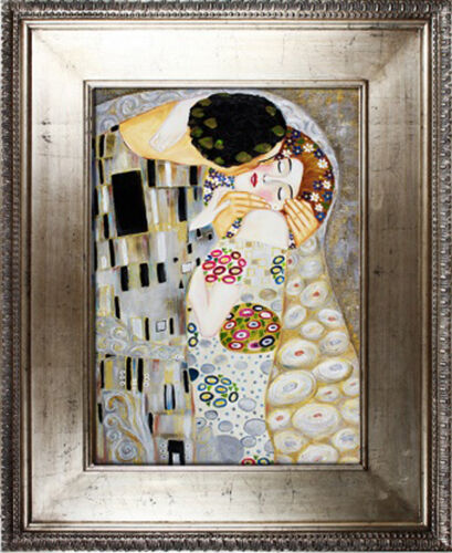 gustav klimt der kuss 102x82 lgem lde handgemalt leinwand silber rahmen sig ebay. Black Bedroom Furniture Sets. Home Design Ideas