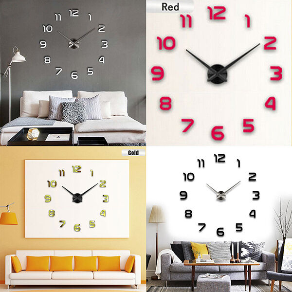 Modern Art Decor Wall Clock Sticker : Diy modern wall clock d mirror sticker home office