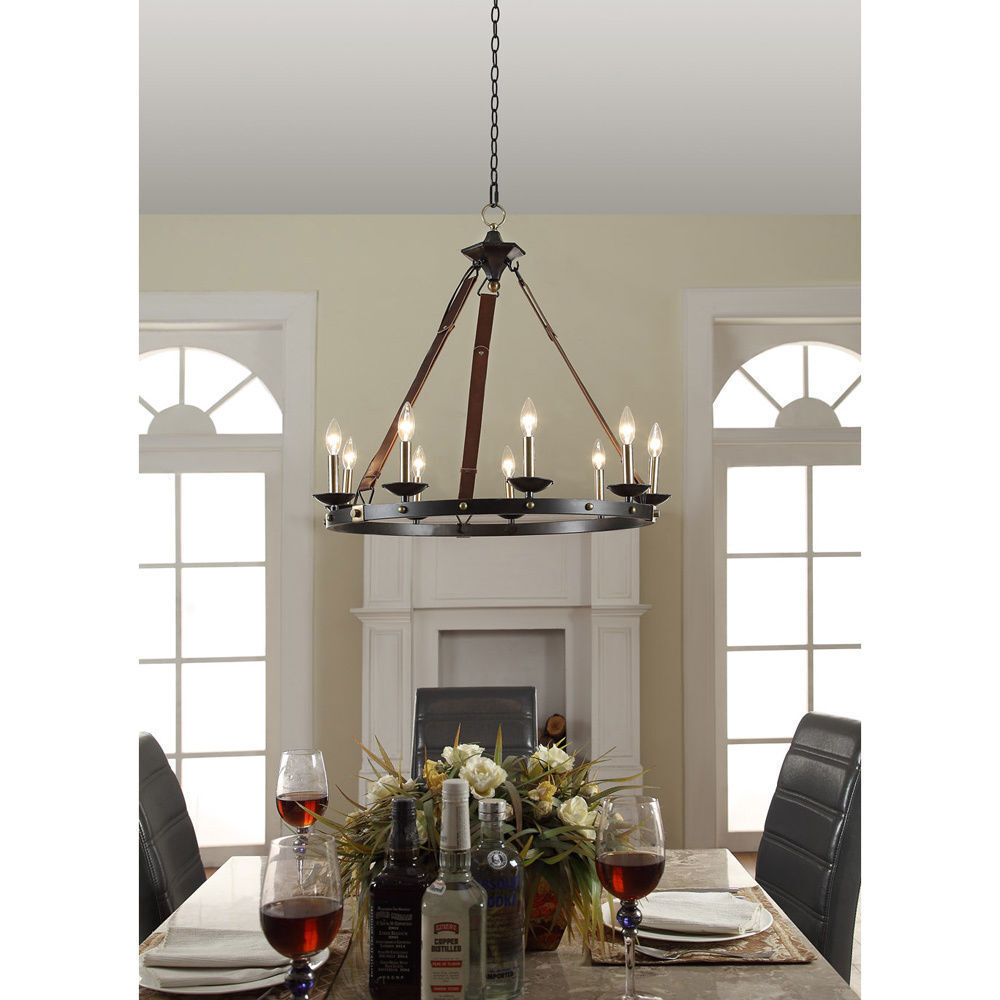 9-light Black Chandelier Rustic Metal Leather Straps