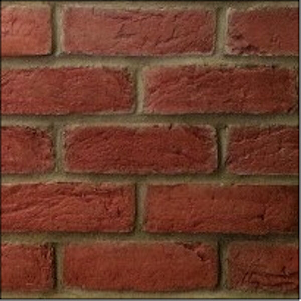 Derwent red thin brick slip cladding veneer fireplace for Modern brick veneer