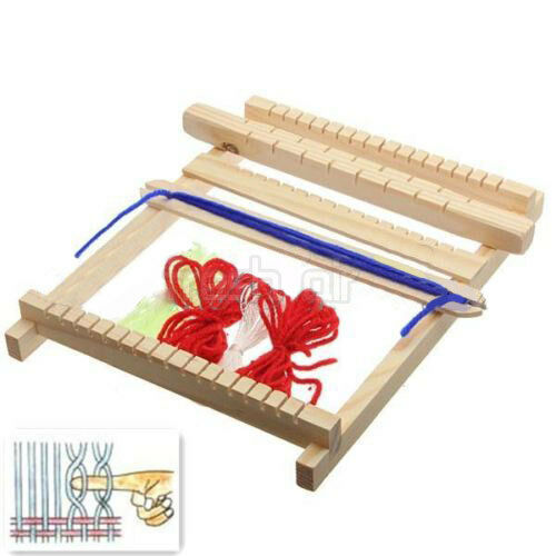 ... Wooden Weaving Toy Loom with Accessories Childrens Craft Box New