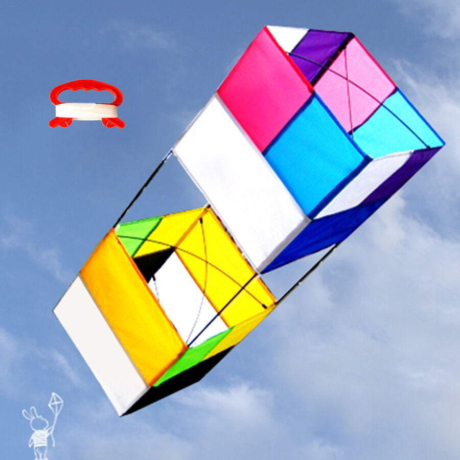 3D Box Kite Rainbow Color Chic With Handle & Line Simple