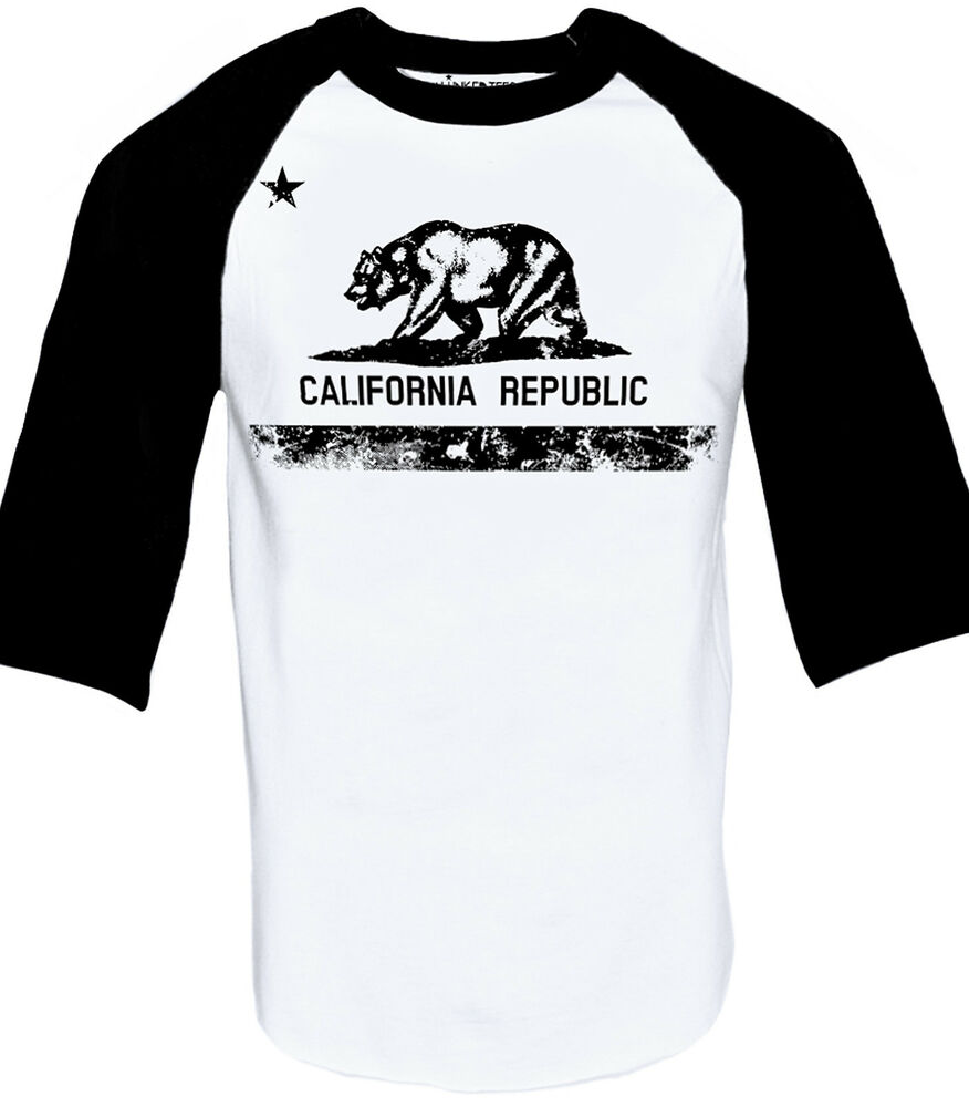 cali baseball raglan shirt california republic mens t shirt s xxxl ebay. Black Bedroom Furniture Sets. Home Design Ideas