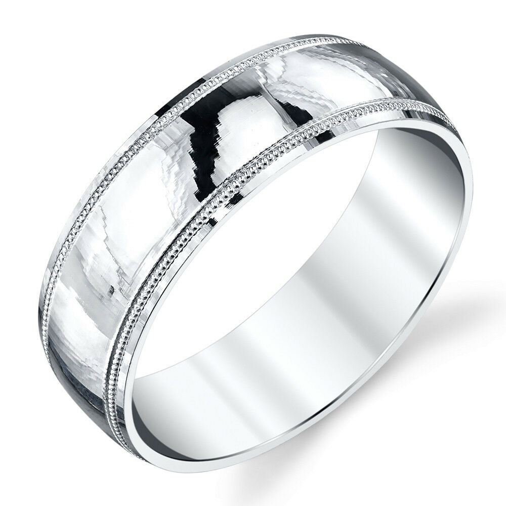 925 sterling silver mens wedding band ring milgrain for Silver band wedding rings