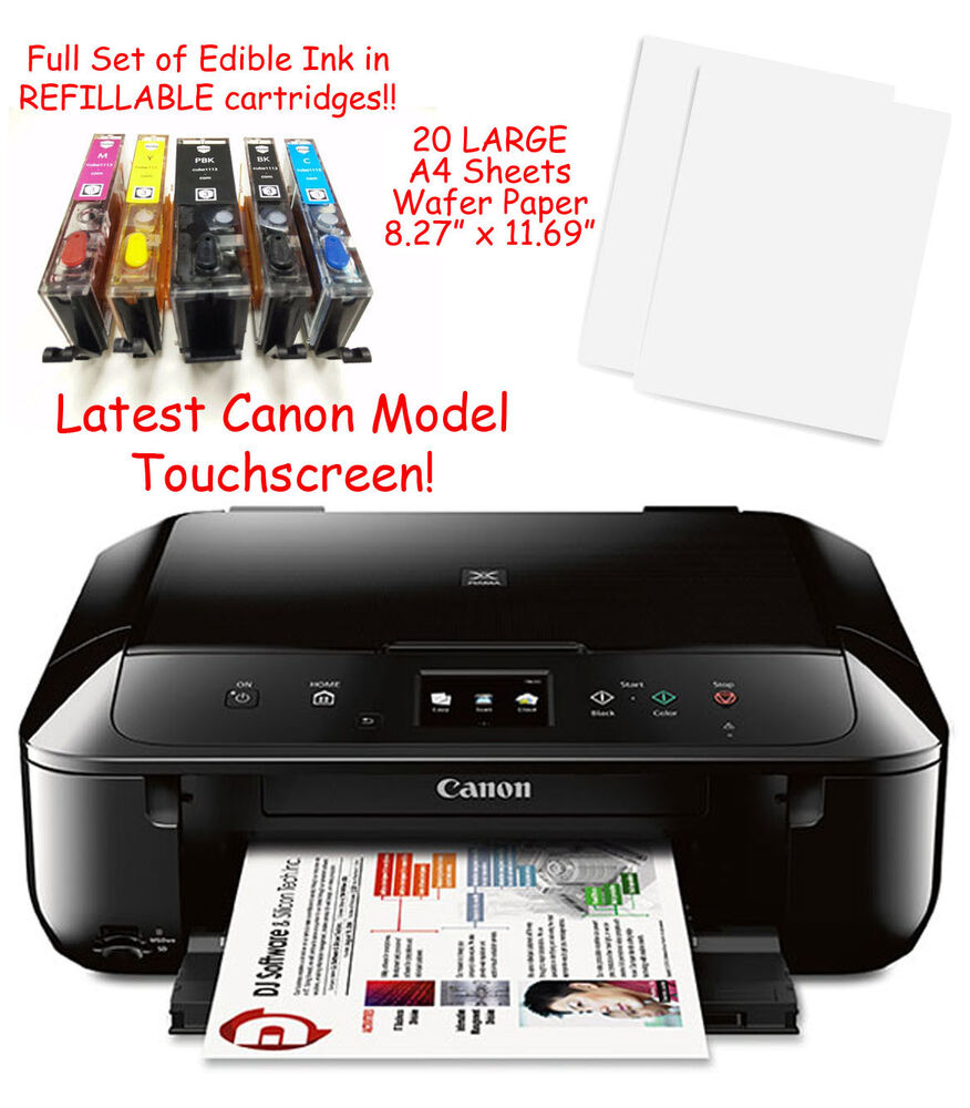 Canon MG6821 Edible Printer Bundle w/ Ink, 20 LARGE A4 Wafer Sheets & Templates | eBay