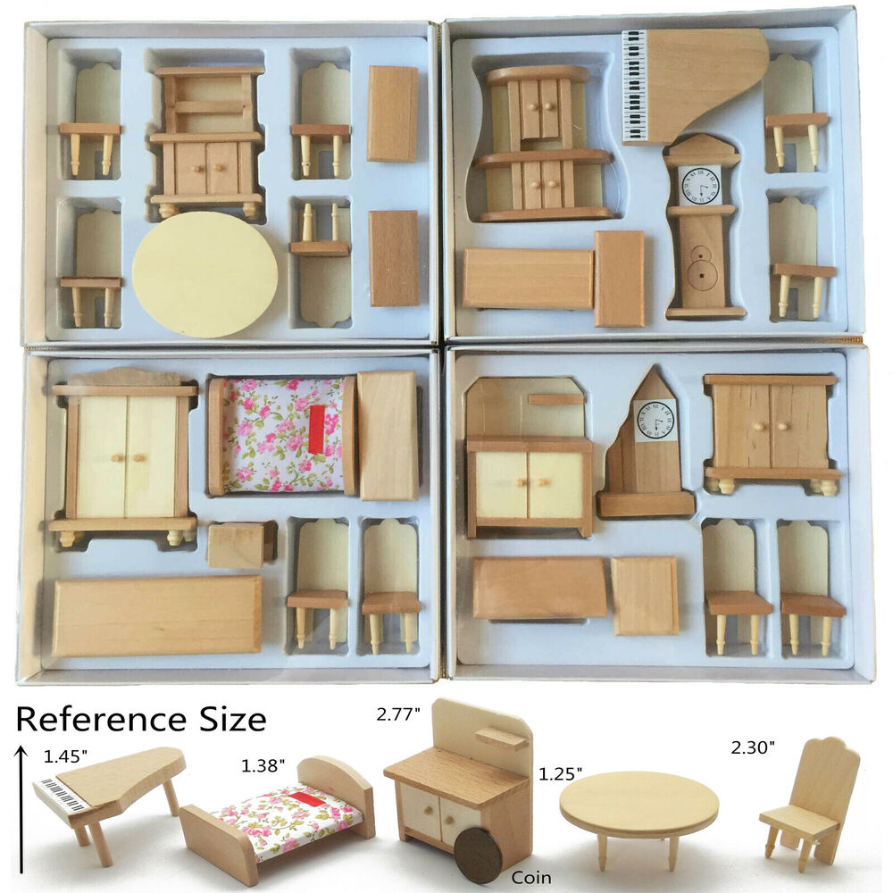 29pcs set dollhouse miniature unpainted wooden furniture suite 1 24 scale model ebay Dollhouse wooden furniture