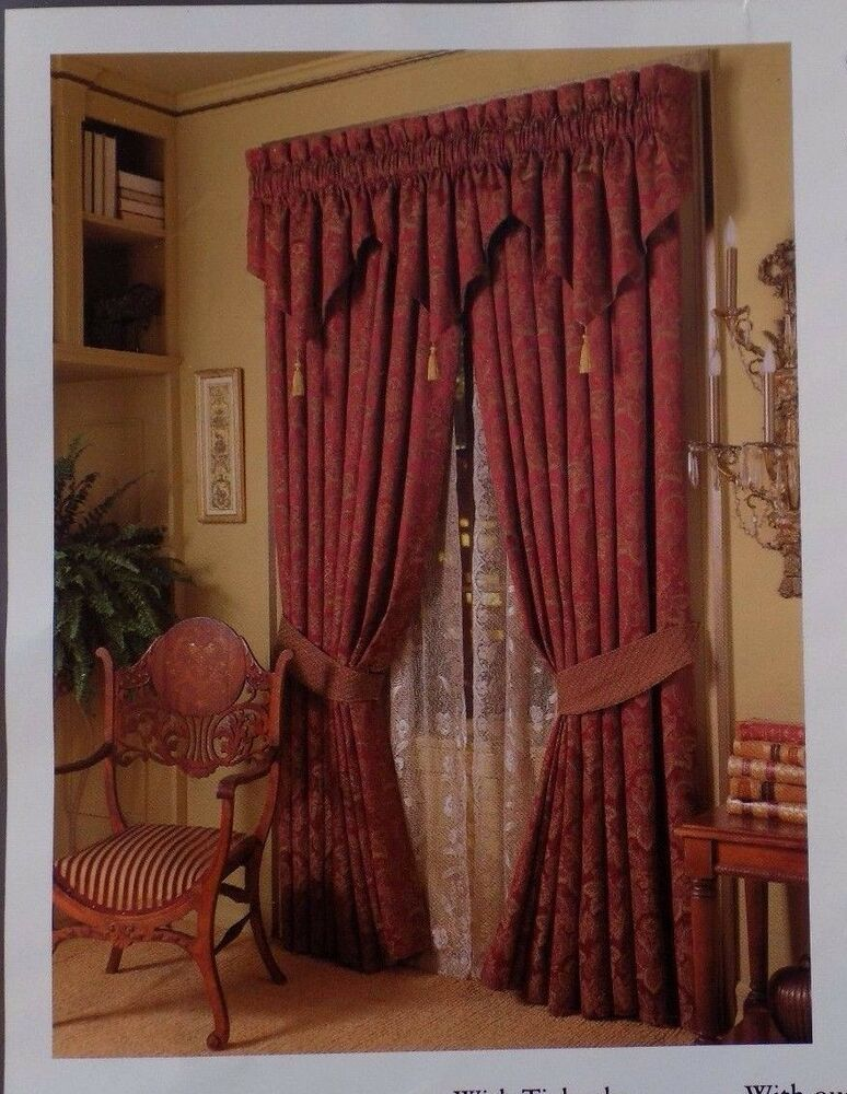 Croscill red gold curtain drapes drapery 2 lined panels for Red and gold drapes