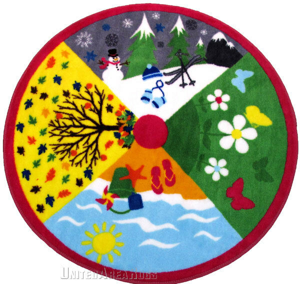 39 x 39 educational round rug four season kids school for Round rugs for kids