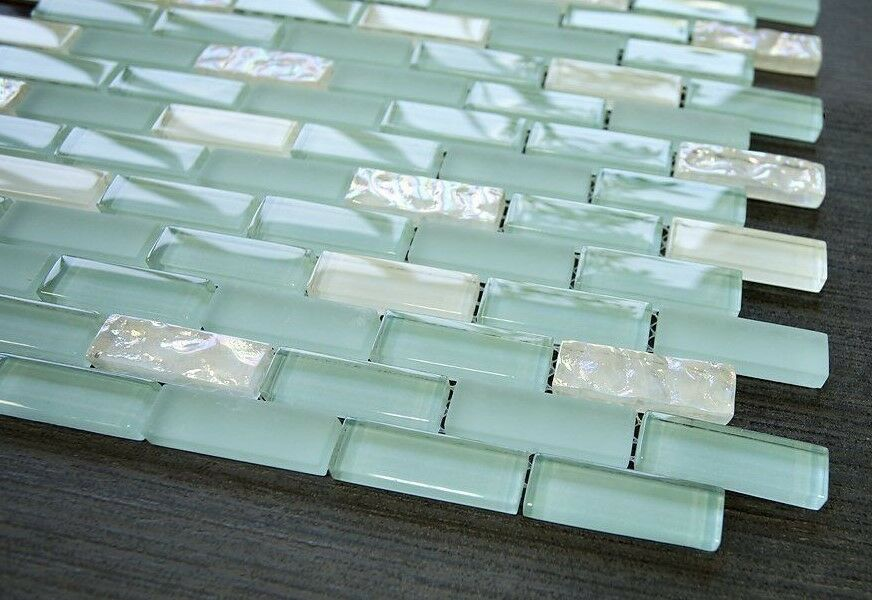 1 2 X 2 Brick Pattern Glass Tile Color Sky Blue Amp White