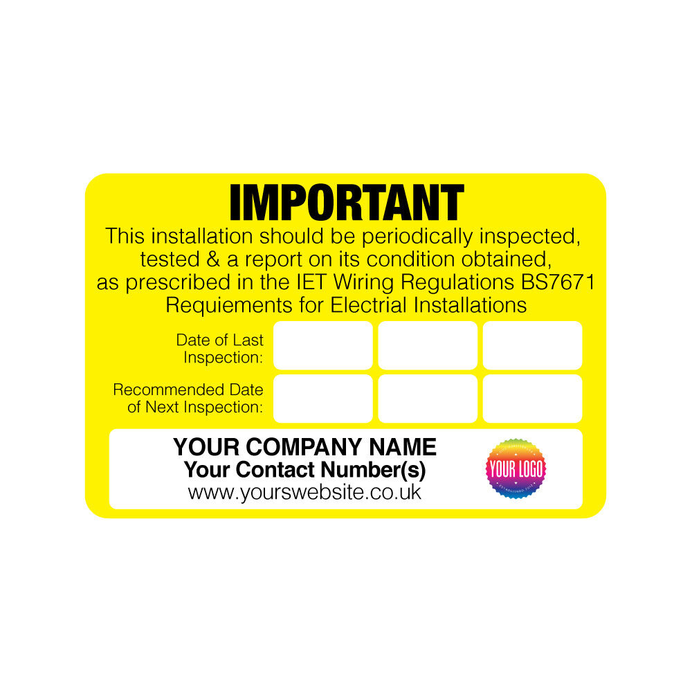 Personalised Electrical Safety Warning Labels Periodic Test Uk Wiring Regulations Inspection Ebay