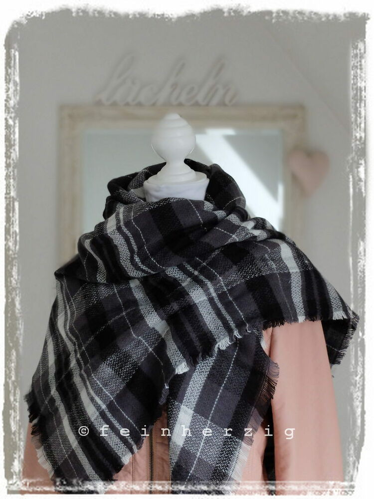 xxl blogger schal kariert schwarz weiss grau plaid scarf tuch schaltuch fransen ebay. Black Bedroom Furniture Sets. Home Design Ideas