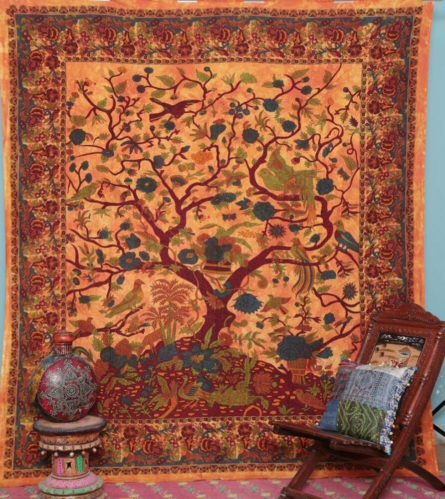 Tree of life orange indian tapestry hippie wall hanging for Home decor wall hanging