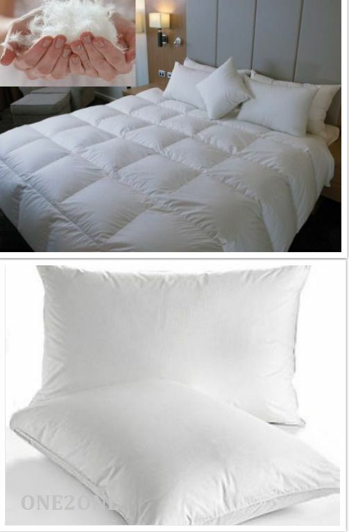 Luxurious goose feather and down duvet with two goose for Buy goose down pillows