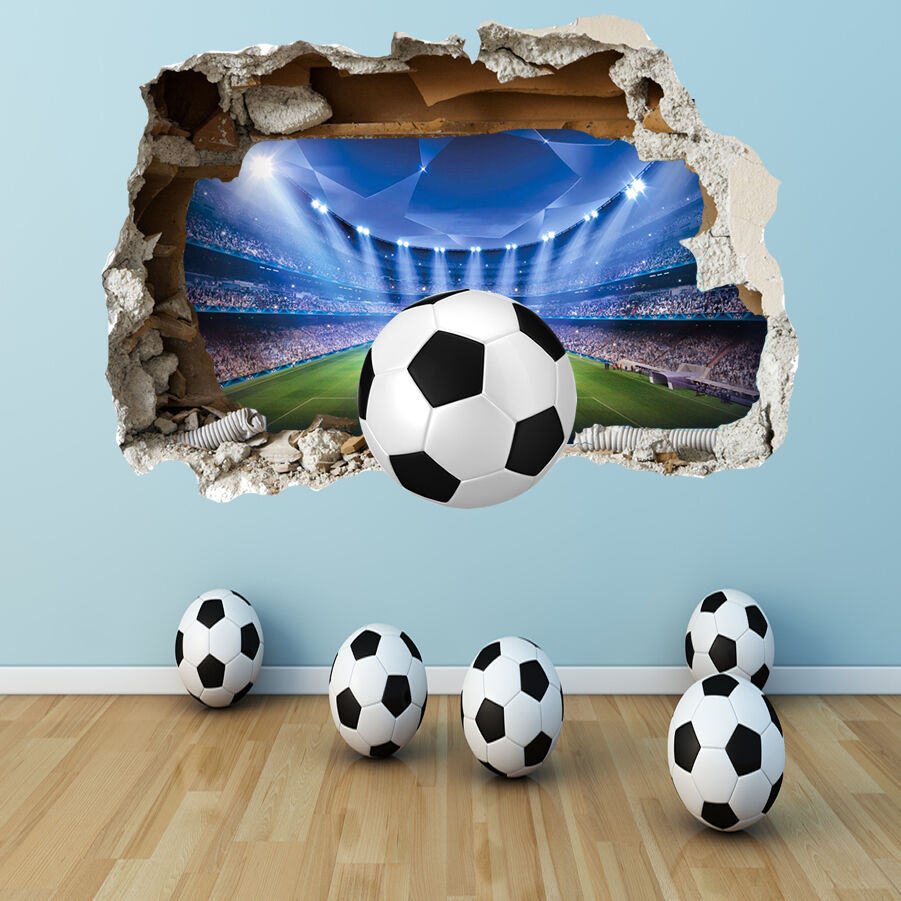 football wall sticker 3d smashed bedroom boys girls stadium wall art decal ebay. Black Bedroom Furniture Sets. Home Design Ideas