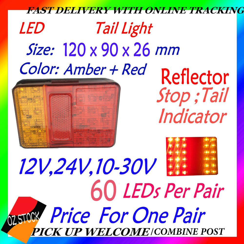 2x 12v 24v LED Tail Light UTE Trailer Caravan Stop Tail Indicator ...