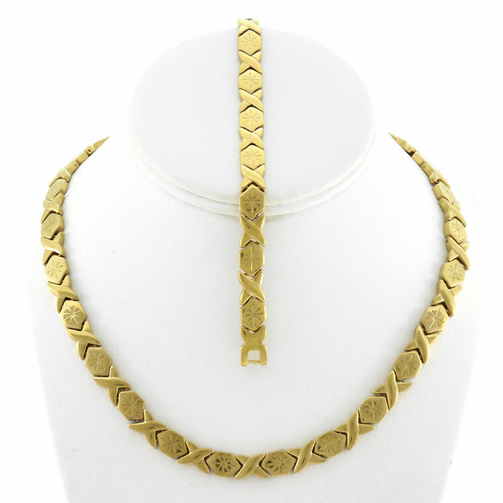 Xoxo Gold Bracelet: Womens Hugs And Kisses Gold Fn Starburst Necklace And
