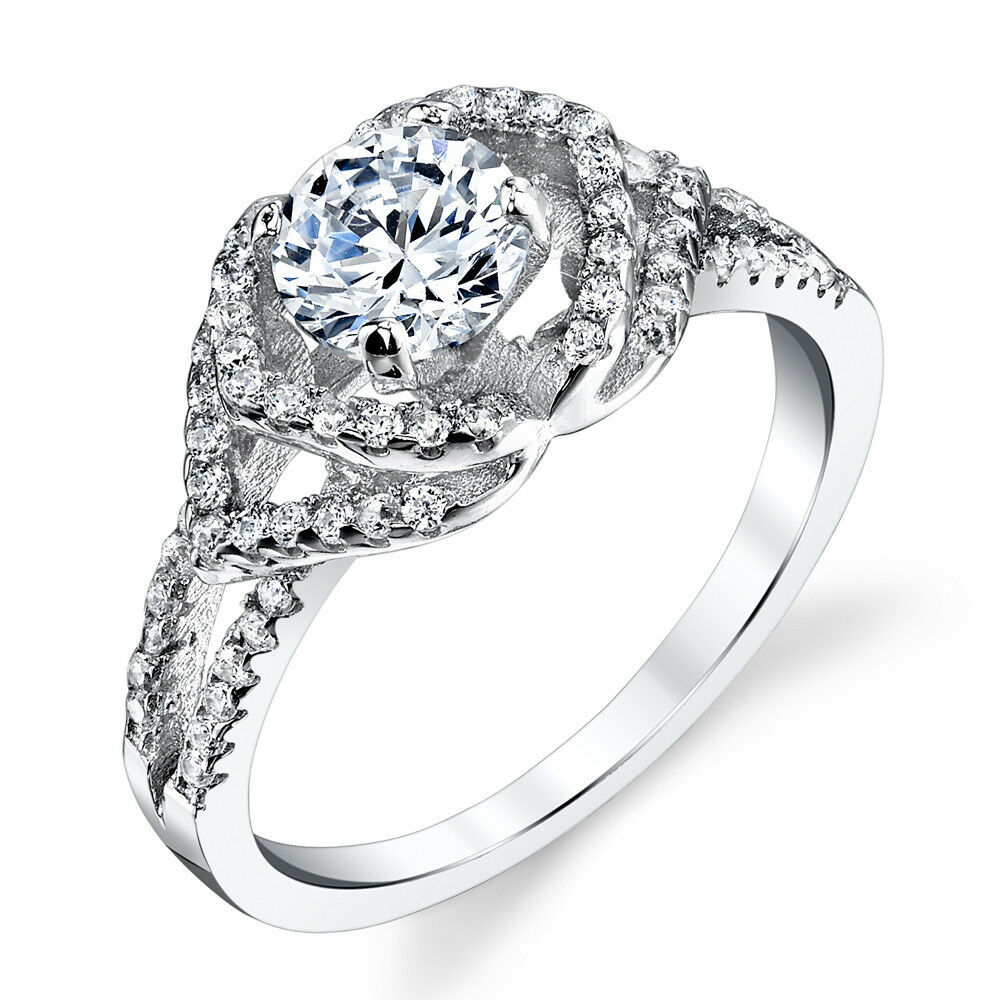 925 Sterling Silver CZ Engagement Wedding Ring Set With 1