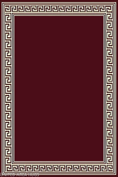 8x10 Area Rug Modern Greek Key Design Burgundy With Border