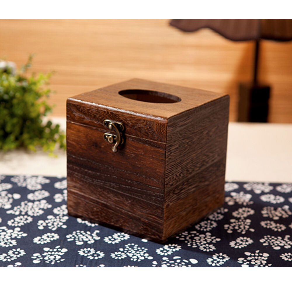 New Rectangle Tissue Box Japanese Wood Holder Cover Home ...