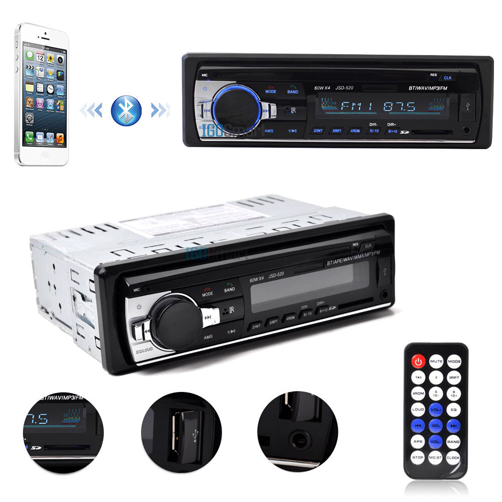 bluetooth car in dash fm radio stereo audio receiver mp3 player sd usb aux input ebay. Black Bedroom Furniture Sets. Home Design Ideas
