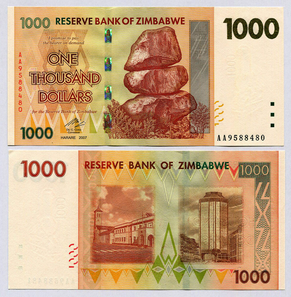 Details About Zimbabwe 1000 Dollars Banknote Aa 2007 P71 Unc Currency Bill