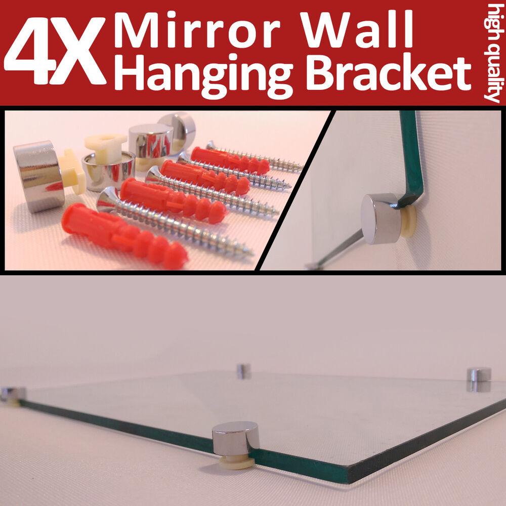 4 mirror wall hanging fixing kit chrome plastic clips for Mirror hanging kit