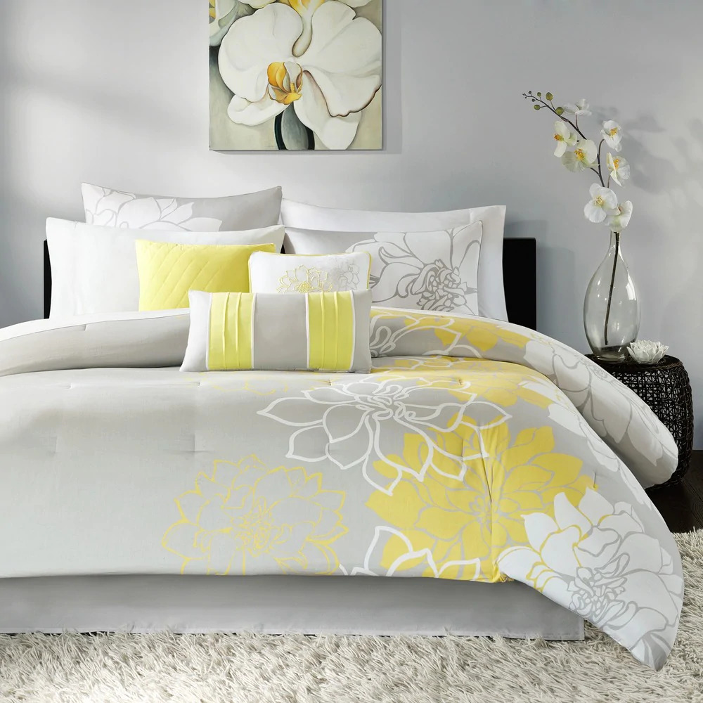 Beautiful 8 Pc Modern Chic Yellow Grey Ivory White Floral