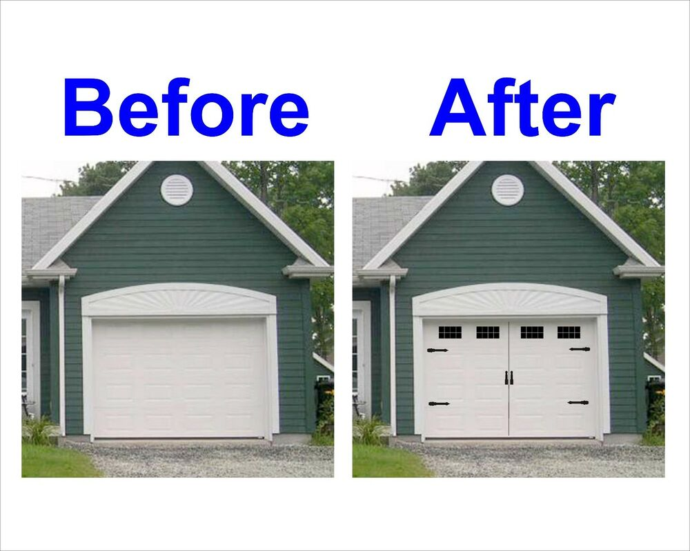 Carriage House Style Vinyl Garage Door Decal Kit Faux