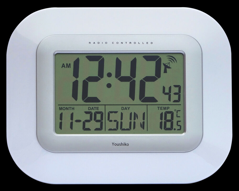 Radio Controlled Large Screen Lcd Wall Or Desk Clock Uk