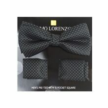Black Dotted Banded Bow tie and Matching Hanky Set (BTH4042)
