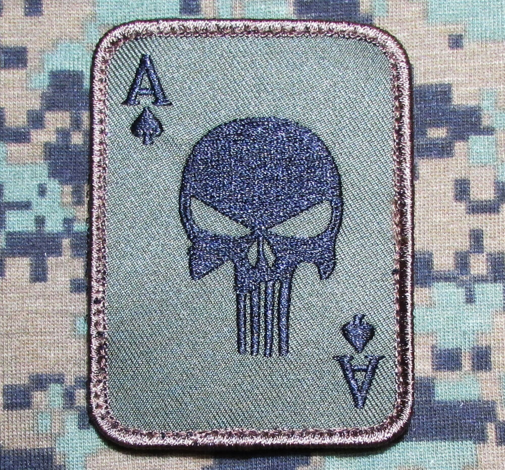 PUNISHER ACE OF SPADES DEATH CARD USA ARMY TACTICAL FOREST