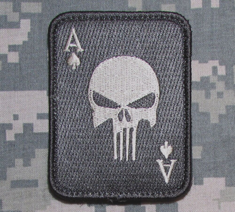 PUNISHER ACE OF SPADES DEATH CARD US ARMY TACTICAL ACU