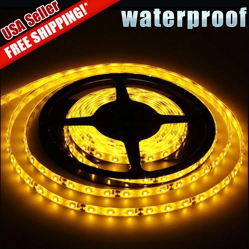 4ft Led Shop Light >> Amber Yellow 5M/16.4Ft 300 LED Strip Light Tape Flexible Waterproof 3528 SMD 12V | eBay