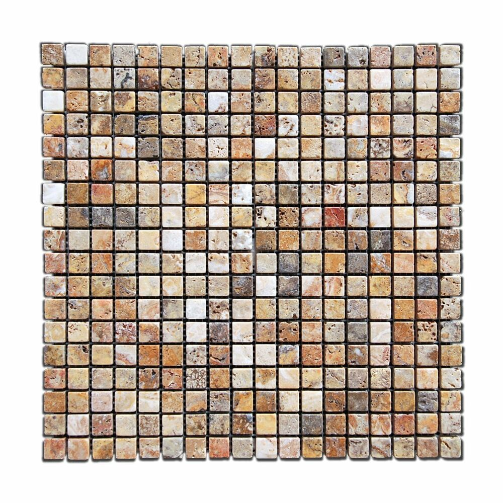 Scabos 5 8 x 5 8 tumbled travertine mosaic tile ebay for Tumbled glass tile