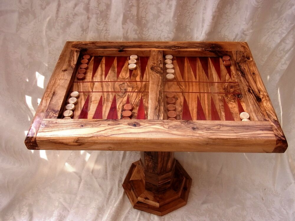 olivenholz backgammon tisch schachspiel oliven l baum handarbeit ebay. Black Bedroom Furniture Sets. Home Design Ideas