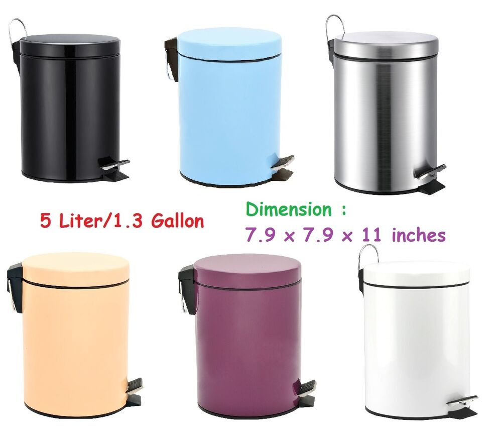 toilet trash can round step w lid cabinet bathroom kitchen small