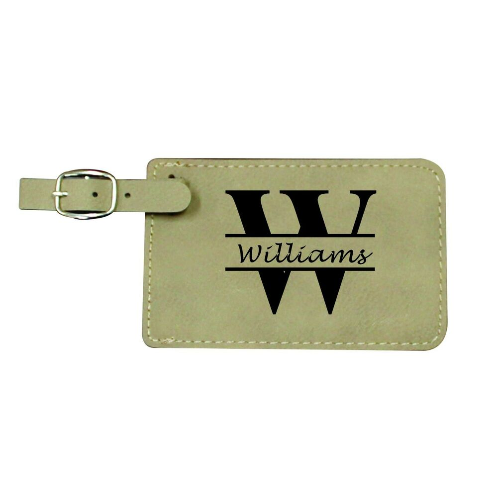 Personalized Luggage Tags Tan Leather Custom Monogrammed
