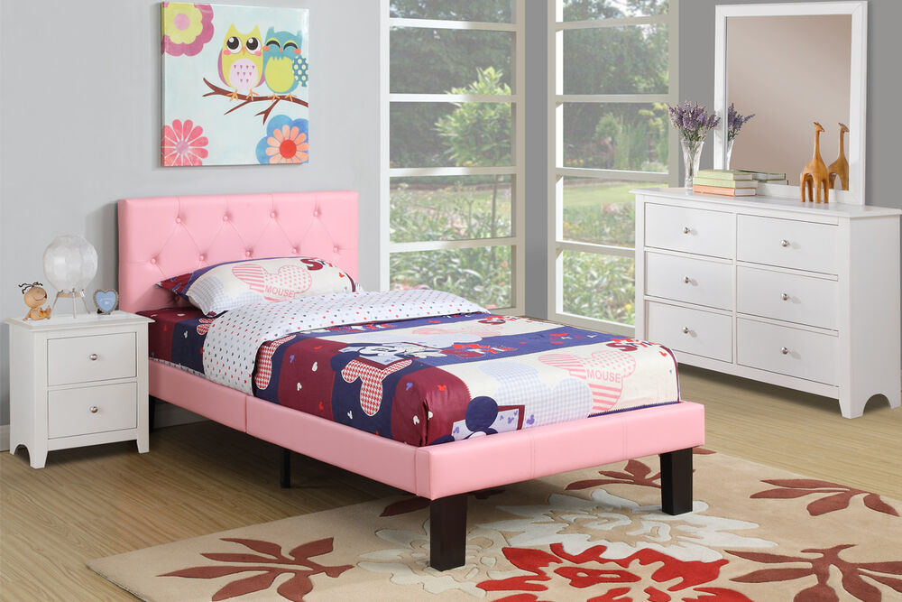 Pink full size bed tufted faux leather upholstered for Girls twin bed frame