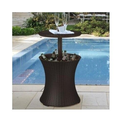 Patio End Table Wicker Outdoor Rattan Deck Accent Coffee